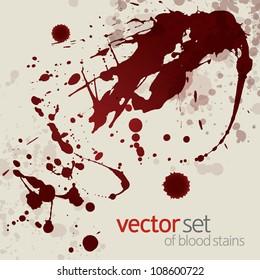 Splattered blood stains, set 17