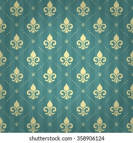 Splendor regal seamless pattern with light yellow heraldic fleur-de-lys ornament elements on aqua blue striped shaded background with lotus and dot fill out. High quality decor design. Royal pattern.