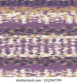 Spliced stripe geometric variegated background. Seamless pattern horizontal dye broken line. Boho gradient textile blend all over print. Trendy digital disrupted ethnic fashion swatch. Gold Purple