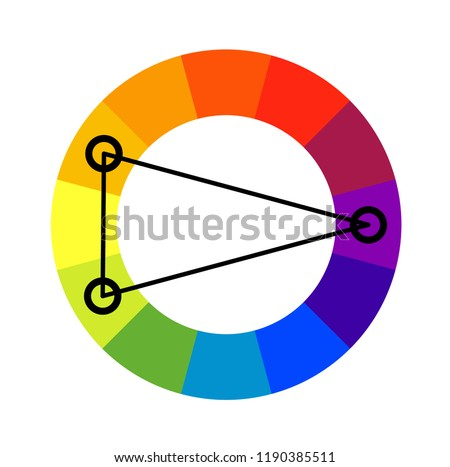 Split complementary color scheme wheel. Vector flat outline icon illustration isolated on white background.