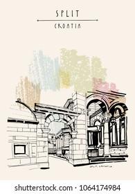 Split, Croatia Palace of Diocletian. Former Yugoslavia, Europe. Tourist destination. Travel sketch. Artistic vintage handdrawn postcard, poster, book illustration. Vector