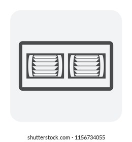 Split duct air conditioner icon, black color.