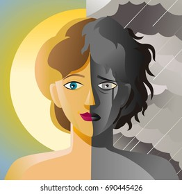 split face double personality bipolar sad and happy woman in sun and cloudy storm sky