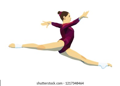 split jump woman gymnast in artistic gymnastics. polygonal illustration