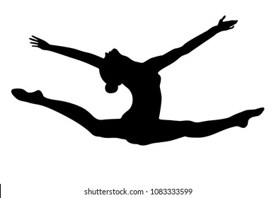 split leap exercise gymnast woman black silhouette