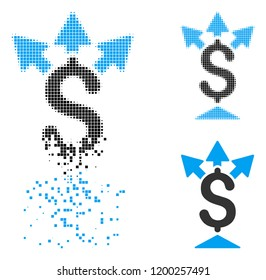 Split payment icon in dissipating, pixelated halftone and undamaged solid versions. Points are organized into vector disappearing split payment icon. Disintegration effect involves square particles.