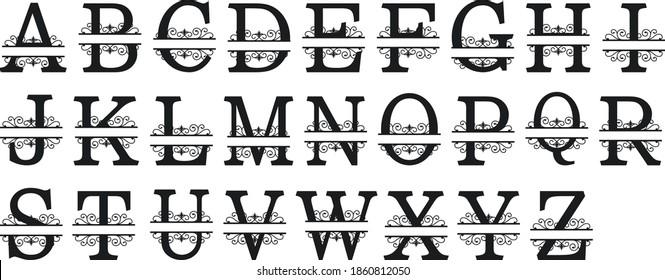 Split Regal Monogram Alphabet Letters Vector Cut Files Metal Laser Silhouette Cricut Font A to Z SVG Letters Dxf, Svg, Cdr, Eps, AI, Set 109