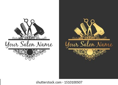 split salon tool with flower for salon logo or sign