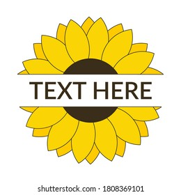 Split sunflower with blank space for text vector illustration
