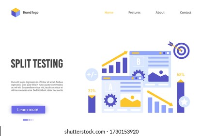 Split testing vector illustration. Cartoon flat website interface design for online service of conversion rate business optimization, AB test, researches A-B comparison analytics, choose better result
