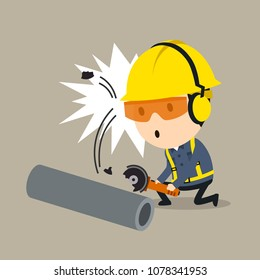 Splitting debris accident during grinder operation, Vector illustration, Safety and accident, Industrial safety cartoon