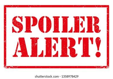 Spoiler Alert grunge rubber stamp. Distressed vector design illustration for web, t-shirt design, other graphic design use