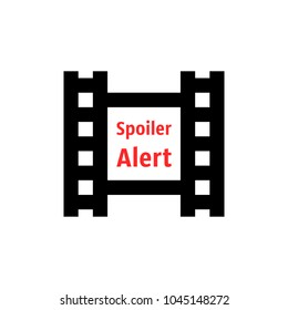 spoiler alert icon with film strip. flat simple style trend modern logotype graphic design isolated on white. concept of disclosure of plot and text with admonition for movie or internet online video