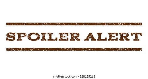 Spoiler Alert watermark stamp. Text caption between horizontal parallel lines with grunge design style. Rubber seal brown stamp with dirty texture. Vector ink imprint on a white background.