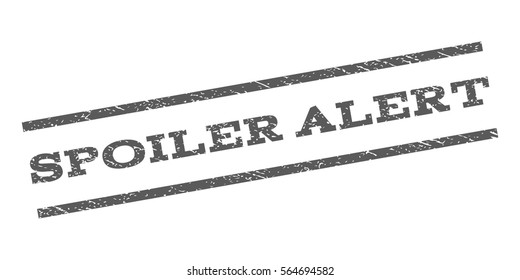 Spoiler Alert watermark stamp. Text tag between parallel lines with grunge design style. Rubber seal stamp with dirty texture. Vector color ink imprint on a white background.