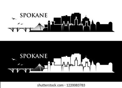 Spokane skyline - Washington, United States of America, USA - vector illustration