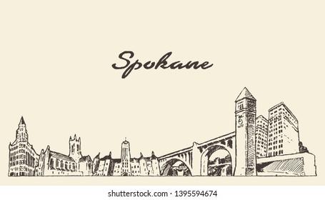 Spokane skyline, Washington, United States, hand drawn vector illustration, sketch
