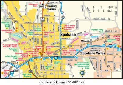 Spokane Map Images Stock Photos Vectors Shutterstock