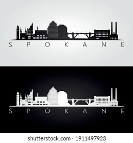 Spokane, Washington -  USA skyline and landmarks silhouette, black and white design, vector illustration.