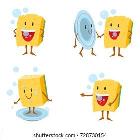 sponge cartoon, washing dishes vector