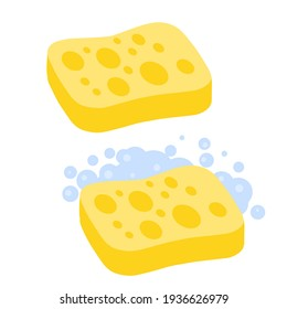 Sponge with foam. Yellow tool for cleaning. Detergent with soap. Set of kitchen and bathroom elements. Flat cartoon illustration