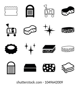 Sponge icons. set of 16 editable filled and outline sponge icons such as sponge, clean