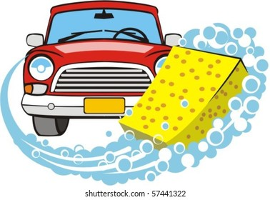 sponge leaves wet soapy trace on background of the front of car