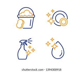 Sponge, Washing cleanser and Clean dishes icons simple set. Water drop sign. Cleaner bucket, Housekeeping spray, Dishwasher concept. Crystal aqua. Cleaning set. Linear sponge icon. Colorful design set
