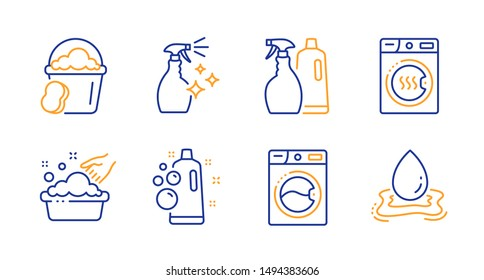 Sponge, Washing cleanser and Washing machine line icons set. Clean bubbles, Shampoo and spray and Dryer machine signs. Water splash symbol. Cleaner bucket, Housekeeping spray. Cleaning set. Vector