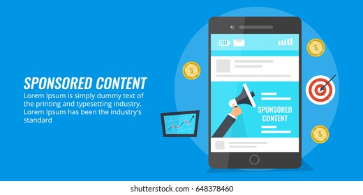 Sponsored content on mobile screen, on-line paid advertising flat conceptual vector with icons