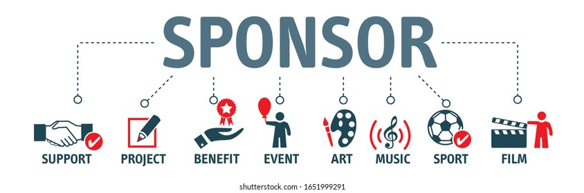 Sponsorship concept. Vector illustration with keywords and isolated icons on white background