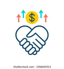 Sponsorship line color icon. Handshake and money. Fundraising vector pictogram. Charity and volunteering symbol. Button for web page, mobile app, promo, UI/UX user interface. Editable stroke.