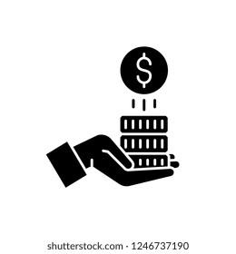 Sponsorship money black icon, vector sign on isolated background. Sponsorship money concept symbol, illustration