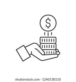 Sponsorship money line icon concept. Sponsorship money vector linear illustration, symbol, sign