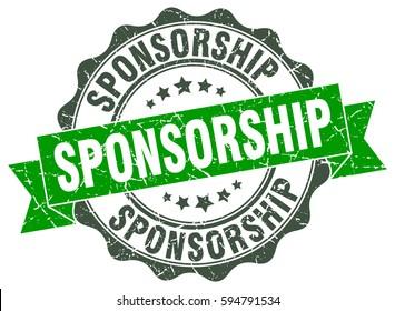 sponsorship. stamp. sticker. seal. round grunge vintage ribbon sponsorship sign