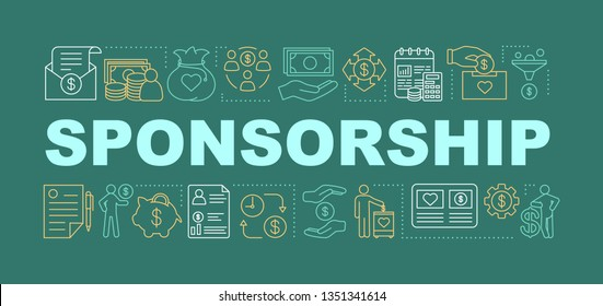 Sponsorship word concepts banner. Donation. Presentation, website. Charitable fundraising and crowdfunding. Isolated lettering typography idea with linear icons. Vector outline illustration