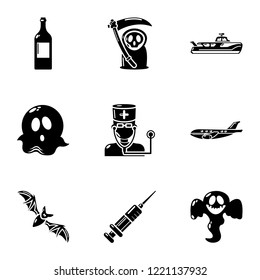 Spook icons set. Simple set of 9 spook vector icons for web isolated on white background