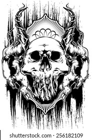 Spooky animals skull