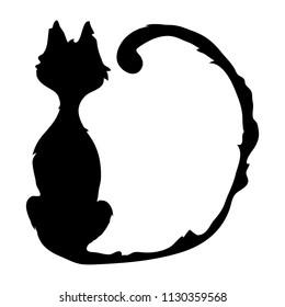 Spooky  black Cat sitting