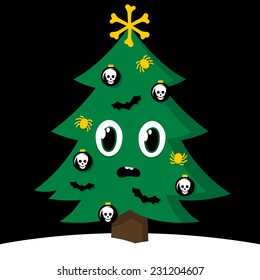 Spooky cartoon vector Christmas tree with Halloween decorations decorated with skull, cross bones, spiders and flying bats to celebrate the festive holiday season on a snowy winter hill
