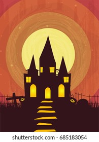 Spooky castle on abstract background for Happy Halloween celebration.