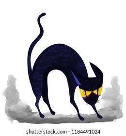 spooky cat  - Halloween vector caracter for banner or flyer halloween template