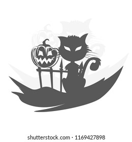 Spooky cat with pumpkin on a fence with copy space