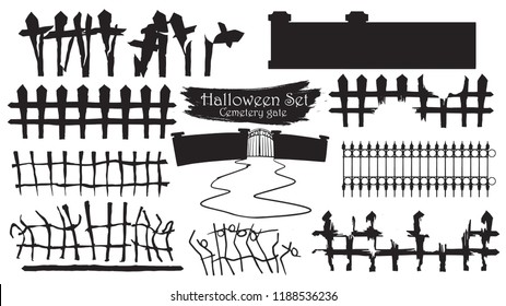 Spooky cemetery gate silhouette collection of Halloween vector isolated on white background. scary, haunted and creepy fence element