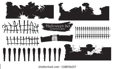 Spooky cemetery gate silhouette collection of Halloween vector isolated on white background. scary, haunted and creepy fencing element
