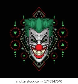 spooky clown smile for commercial use