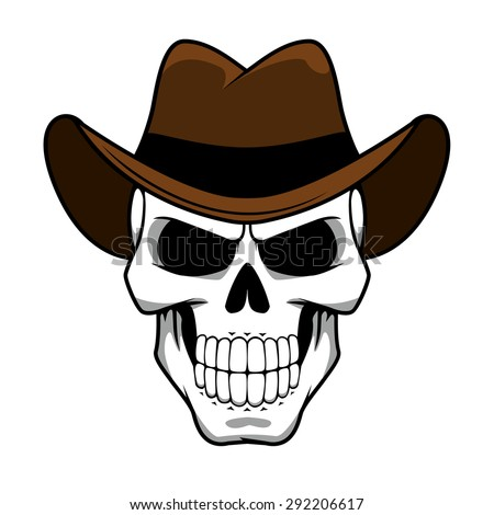 cec3514868f3e Spooky cowboy skull character with classic brown felt hat in cartoon style  for tattoo