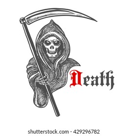 Spooky death skeleton in hooded cape cloak with scythe. Sketched grim reaper character for Halloween decoration or tattoo design
