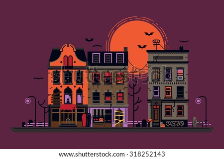 Spooky Evil Town Vector Background Halloween Stock Vector Royalty