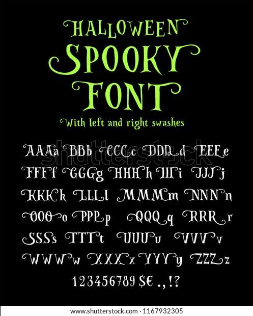 Halloween Ijs.Spooky Font Halloween Rough Hand Drawn Stock Vector Royalty